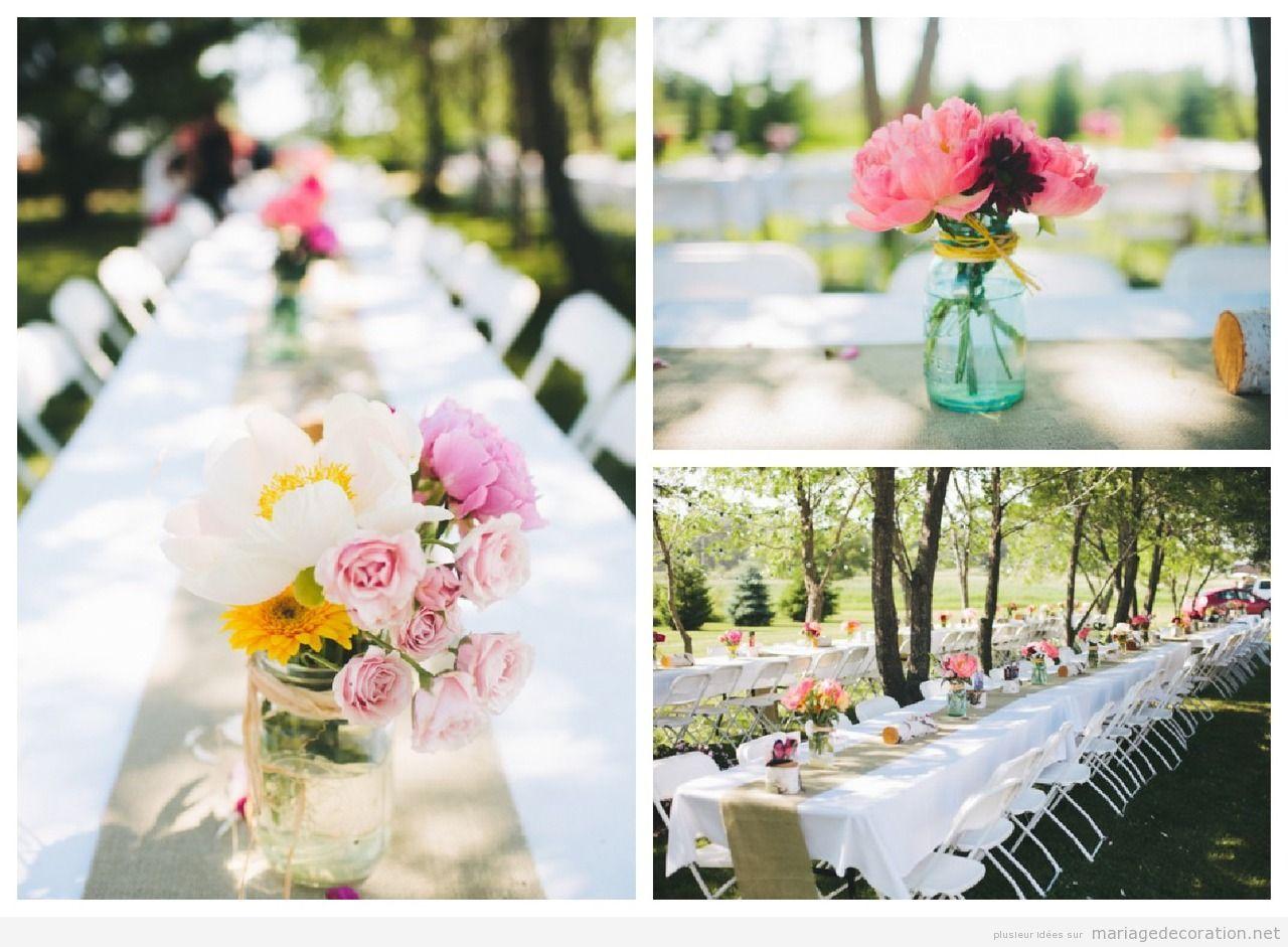 Idées pour décorer un centre de table, mariage à la campagne