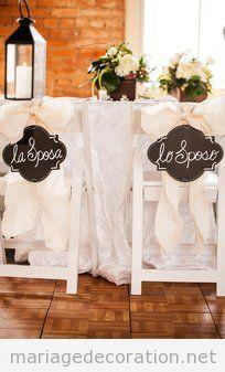 Déco mariage, petit tabelau pour décorer chaises des mariés