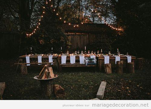 idées déco mariage intime, soirée jardin