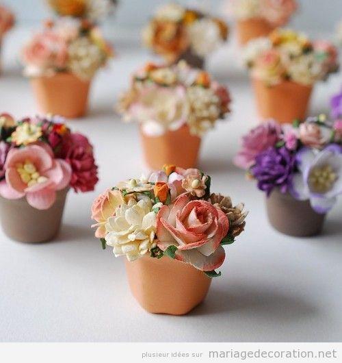 Pétits pots de fleurs, idée déco mariage