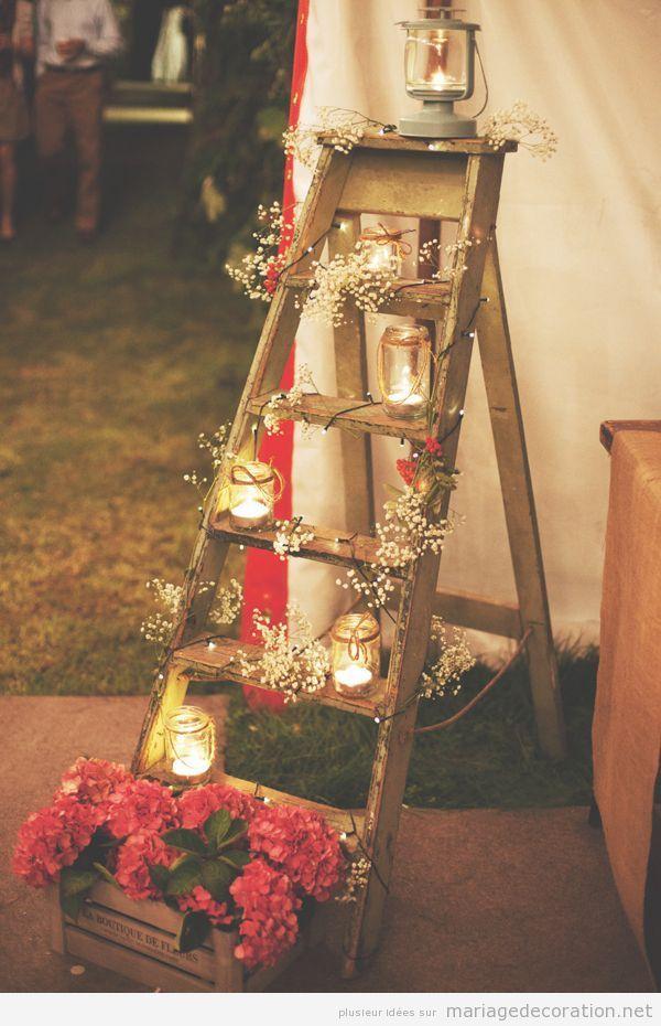 une chelle en bois decor e avec des bougies et fleurs d co mariage tr s jolie d coration. Black Bedroom Furniture Sets. Home Design Ideas