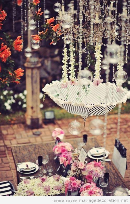 Déco salle mariage parapluie vintage