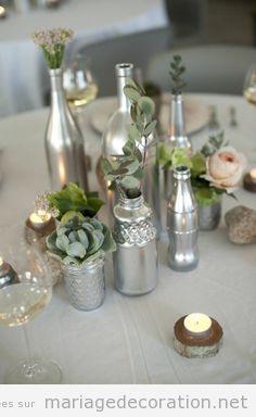 Idées décoration table mariage DIY bouteiles argentés