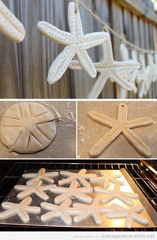 Tuto déco mariage plage, guirlande étoile de mer pâte à sel