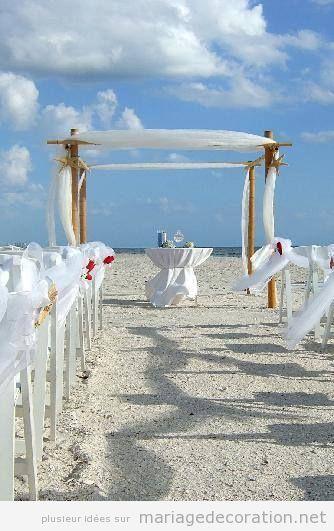 Décoration mariage plage en blanc