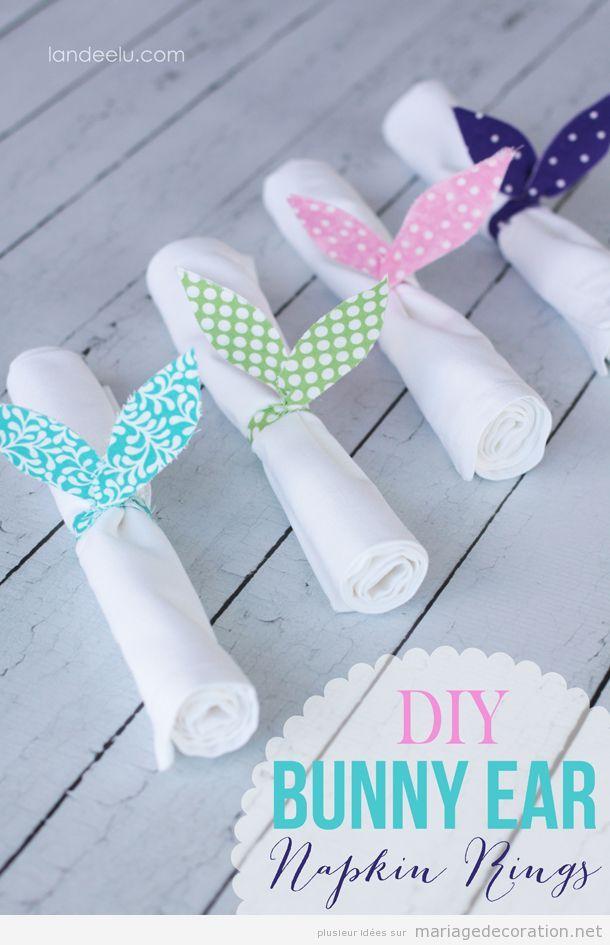 Idées décorer serviettes mariage:a nenau oreilles de lapìn