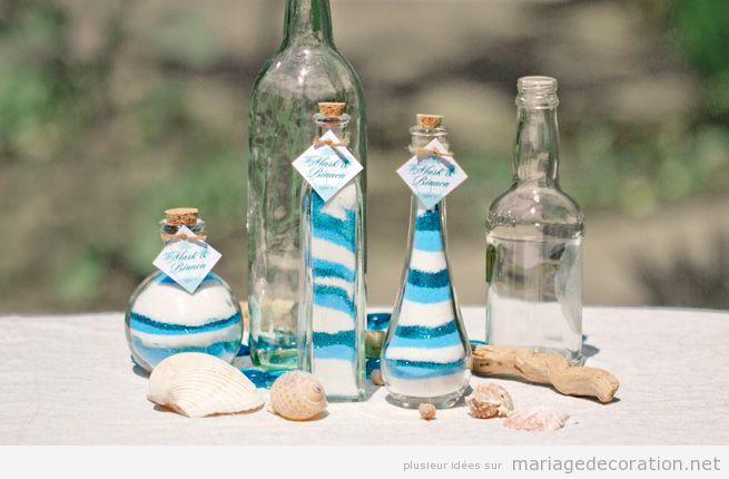 Décorer mariage bouteilles remplie de sable de plage