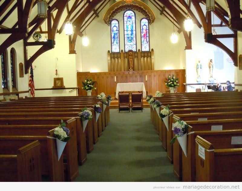 Déco mariage église, cornet de fleurs