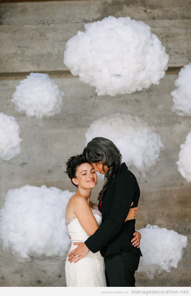 Déco mariage DIY pas cher, nuages de cotton