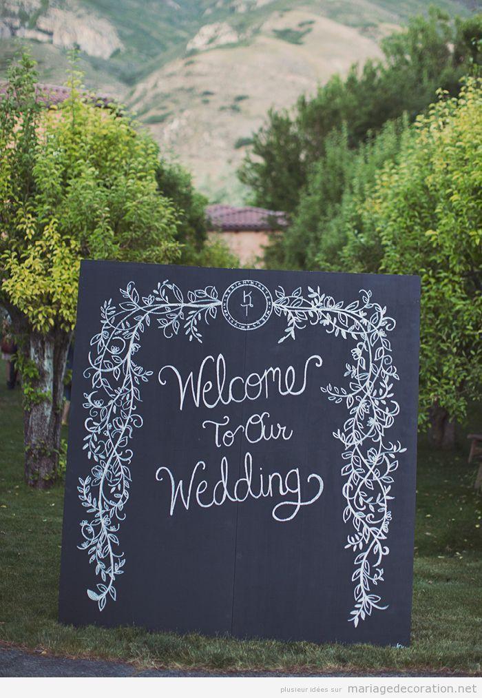 Idées décoration mariage, panneau ardoise message de bienvenue