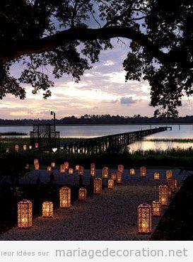 Décoration mariage nuit, lanternes
