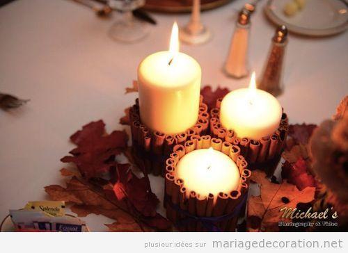 Déco mariage, centre table réalise avec des porte-bougies de bâton canelle