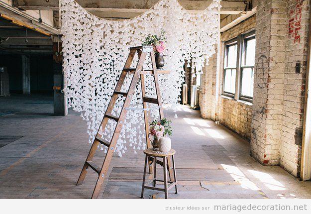 Déco mariage DIY pas cher, rideau papier cire