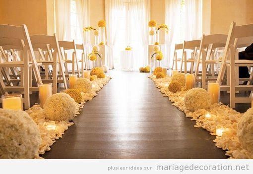 Décoration mariage religieux ou civil dans une salle