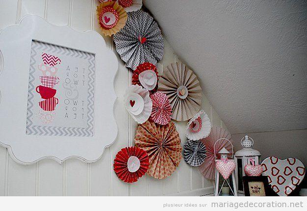 Rosettes en papier décorer mariage vintage pas cher