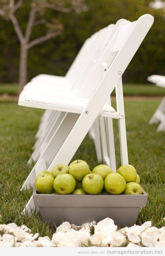 Déco mariage chemin vers autel pommes vertes