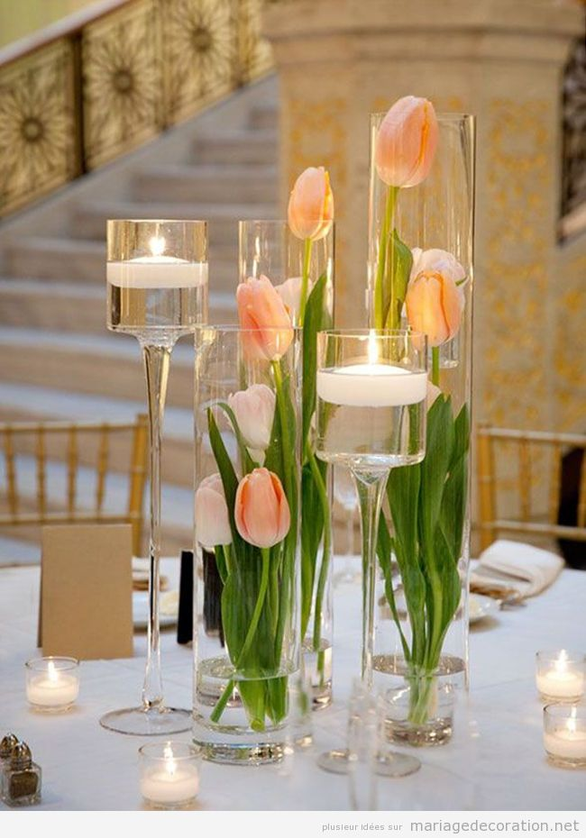 Centre table printemps 2016, tulipes rose orangé