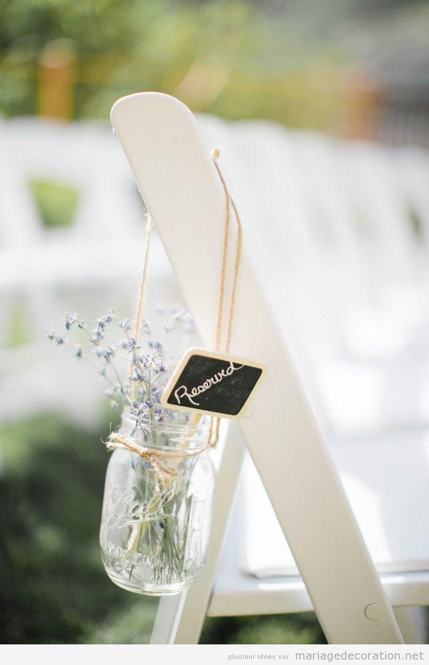 Décoration chaise reservé mariage au jardin