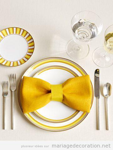 Serviette noeud, déco table mariage