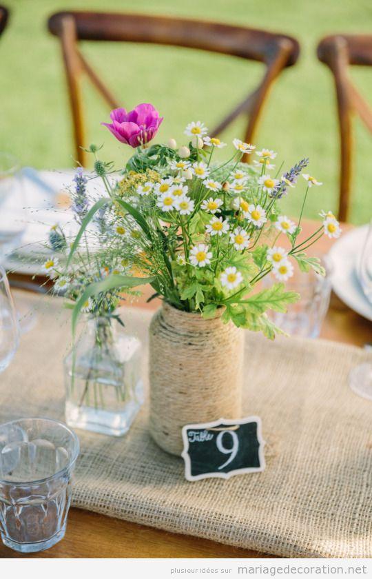Idées décorer table de mariage à la campagne pendant été