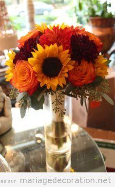 Idées centre table mariage, fleurs automne