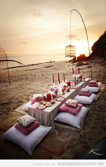 Repas mariage sur la plage style chill out