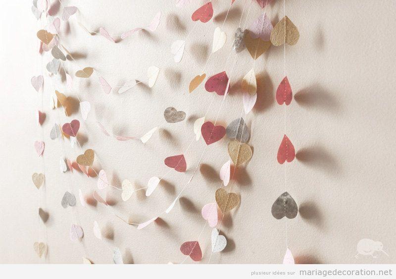 Guirlande coeurs en papier pour décorer mariage