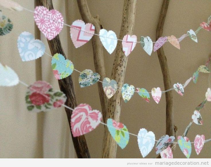 Guirlande coeurs en papier pour décorer mariage 2
