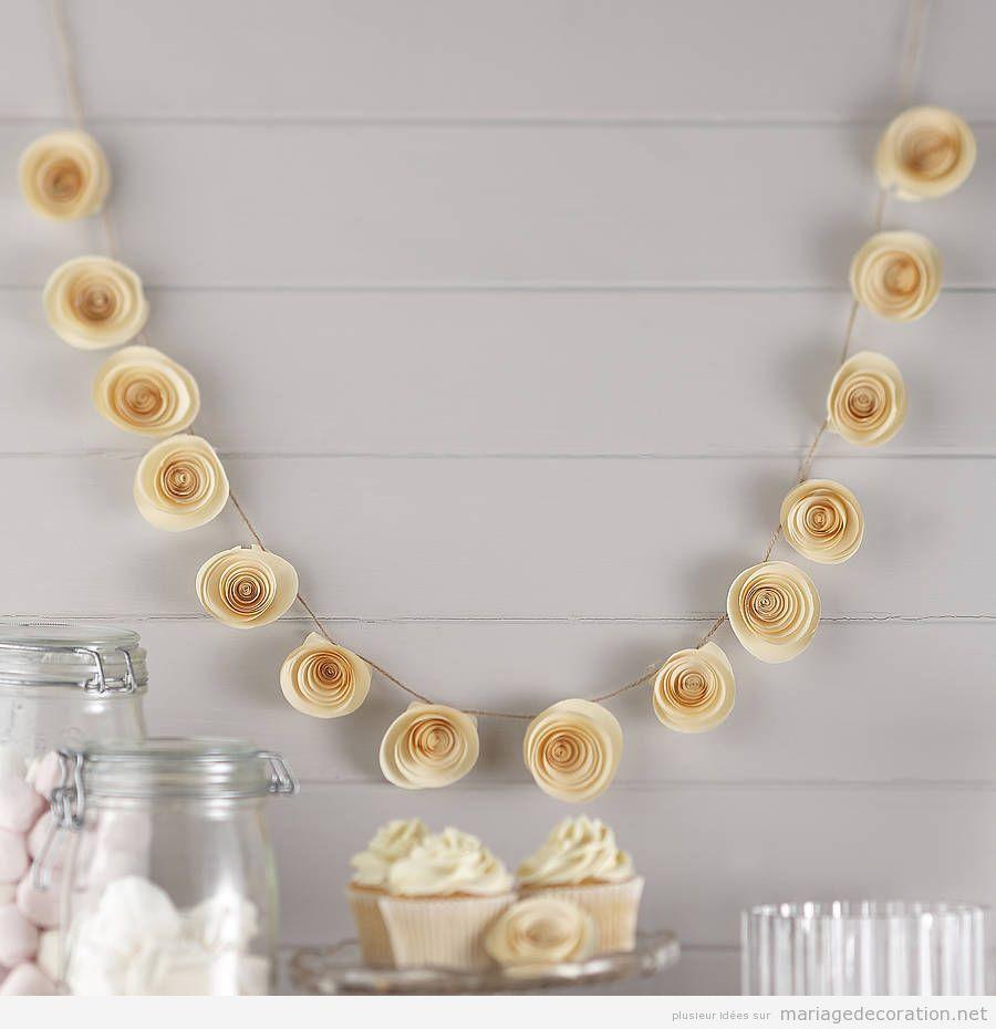 Guirlande fleurs en papier pour décorer mariage