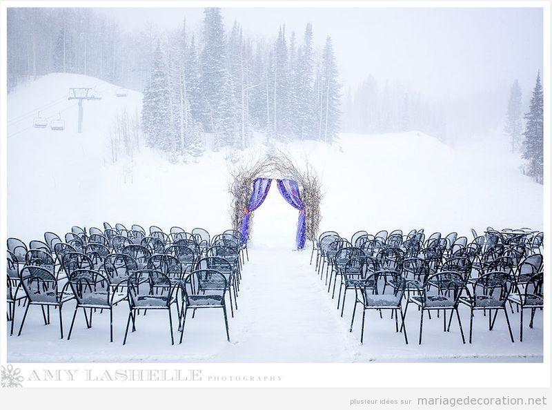 Idées célebrer et décorer céremonie de mariage sur la neige 5