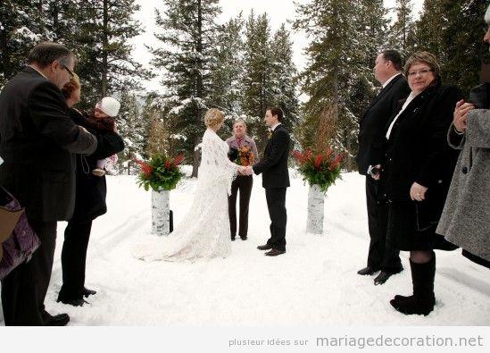Idées célebrer et décorer céremonie de mariage sur la neige