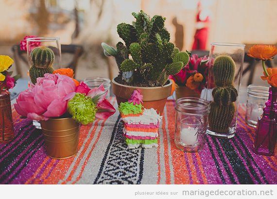 Décoration mariage mexicain, centre de table