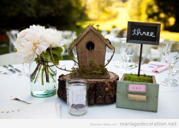 Décoration table mariage thématique oiseaux 3