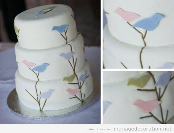 Gâteau mariage thématique oiseaux