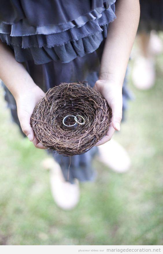 Nid pour porter les anneaux, mariage thématique oiseaux