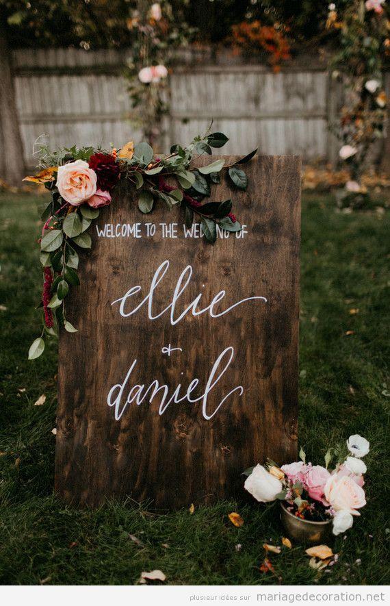 Panneaux bienvenue mariage lettre calligraphie joloe
