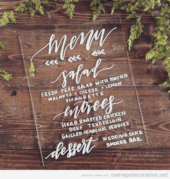 Panneaux menu invités mariage calligraphie jolie