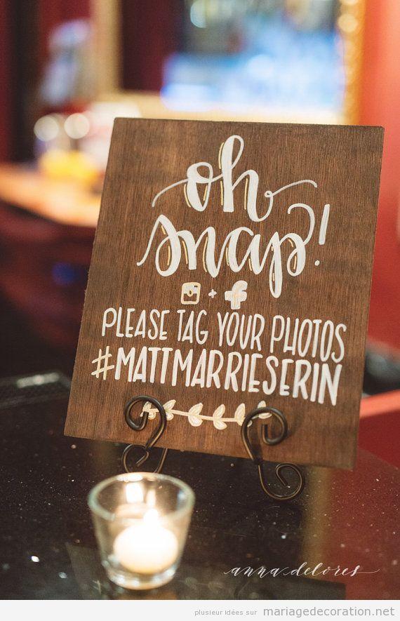 Panneaux messages invités mariage calligraphie jolie 2