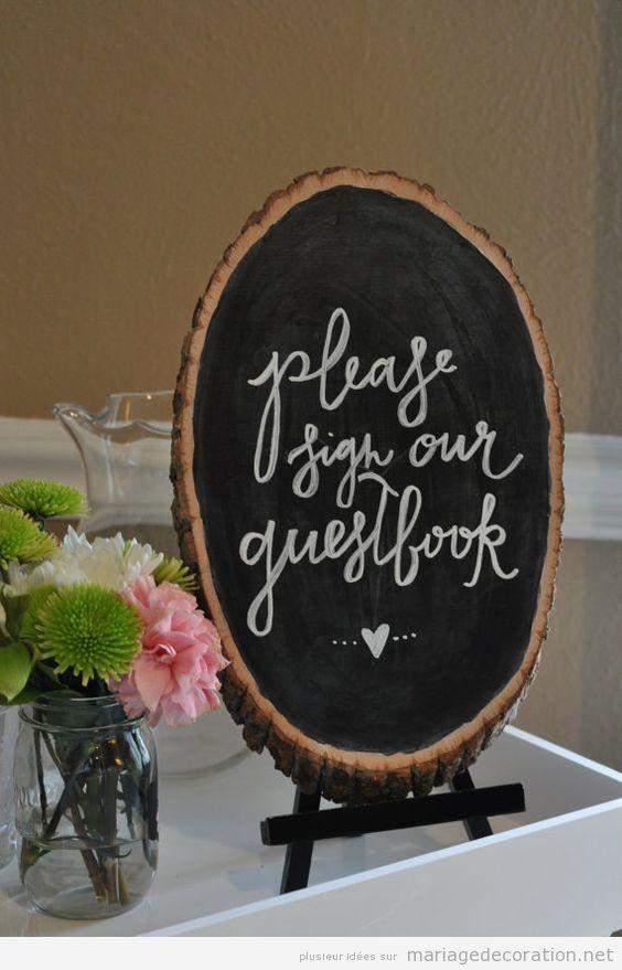 Panneaux messages invités mariage calligraphie jolie