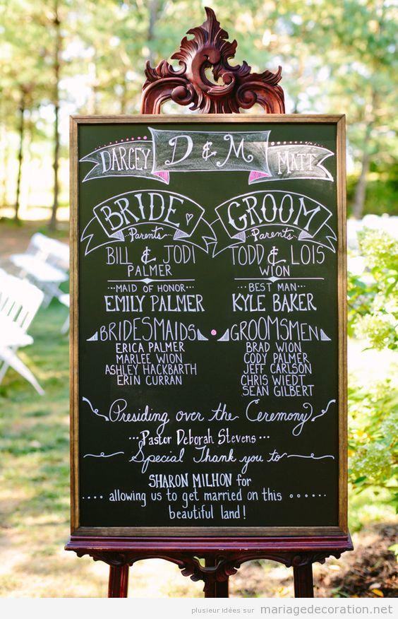 Déco mariage, messages écrits en craie sur panneau d'ardoise 2