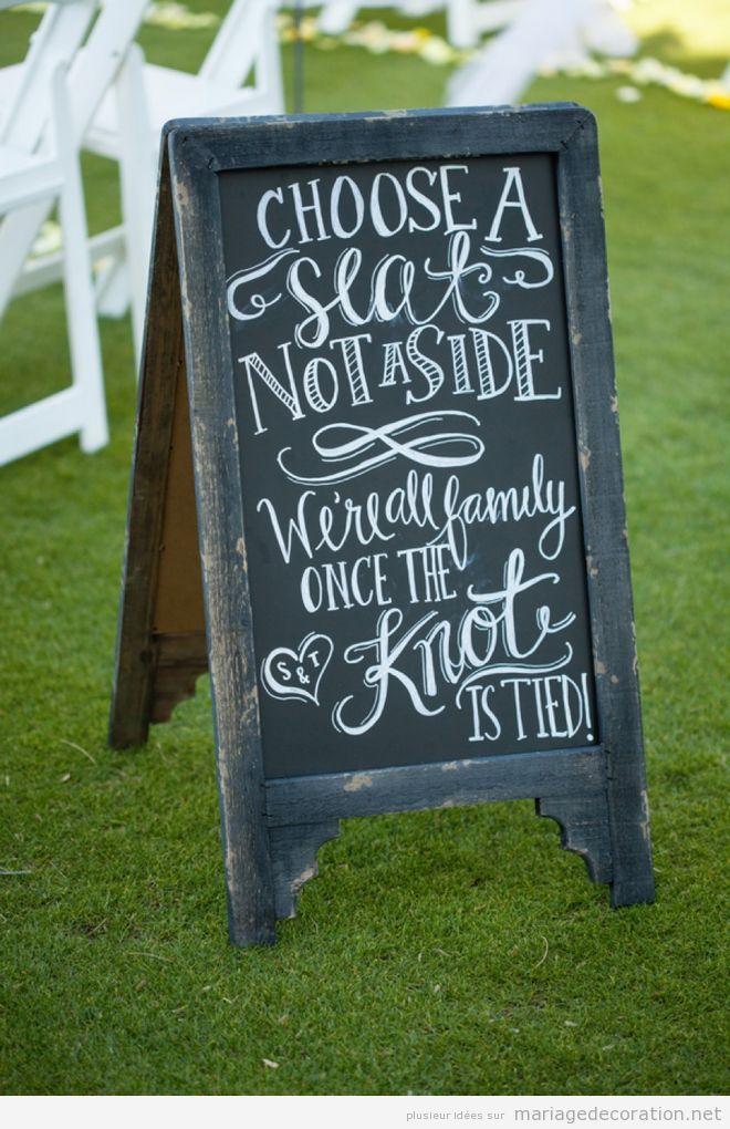 Déco mariage, messages écrits en craie sur panneau d'ardoise 5