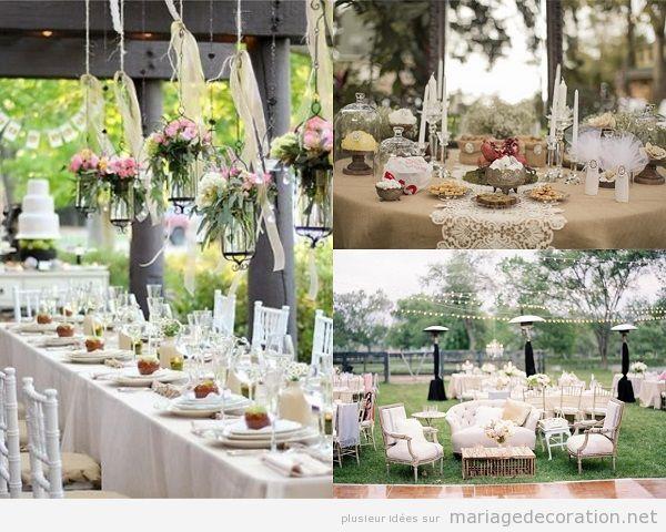 Décoration banquet mariage vintage en plein air