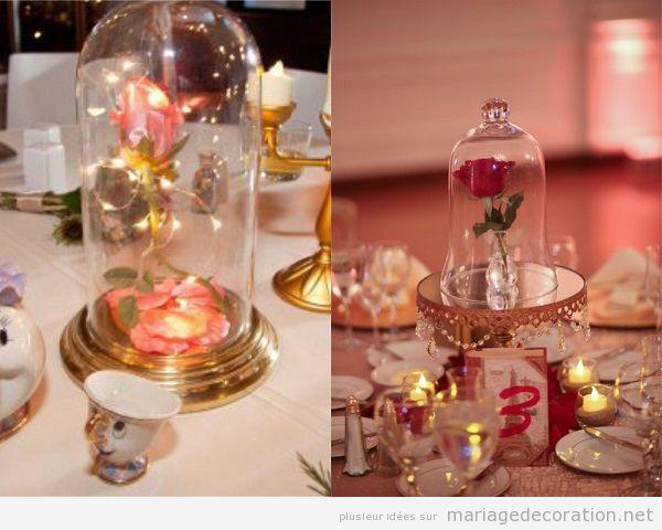 Mariage inspiration La Belle et la Bête, centre de table