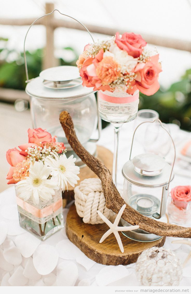 Centres De Table Pour Un Mariage Sur La Plage Decoration
