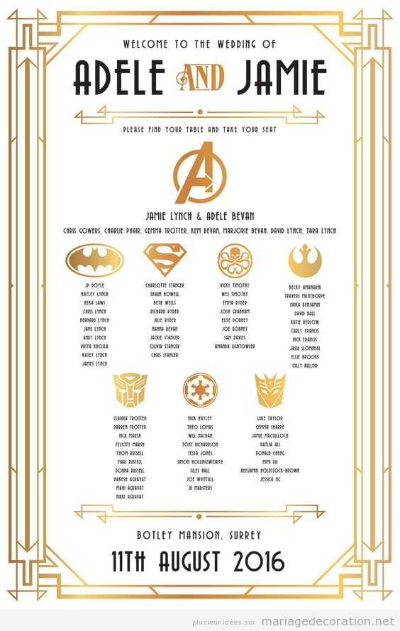 Numéro Table invités super-héros