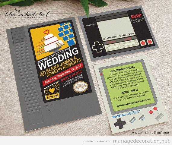 Invitations mariage jeux vidéo