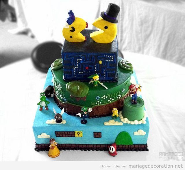 Gâteau mariage jeux vidéo