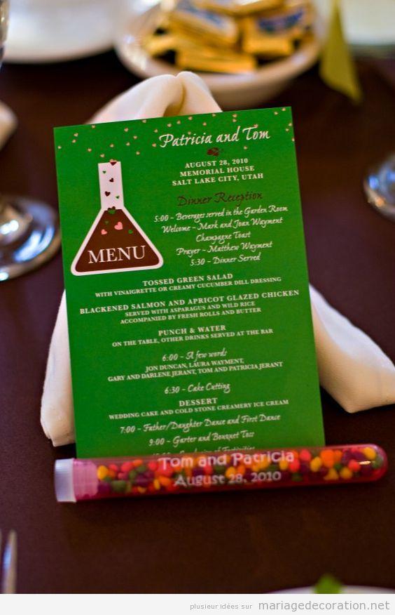 menu mariage chimie