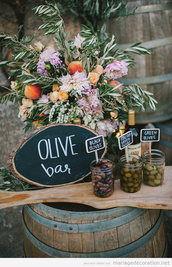 Idées originales mariage 2018, barre huile olive