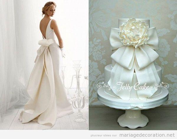 Idées originales mariage 2018, gateau assorti robe